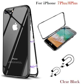 EXOTIC FLOURISH Glass & Silicone Back Cover For Apple iPhone 7 Plus & Apple iPhone 8 Plus ( Black )