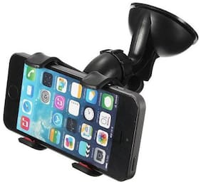 360 Degree Rotatable GPS Windshield Stand for Car Phone / Mobile Holder (Black) Pack of 1