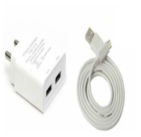 3A Dual USB Port Universal Super Fast Charger with 1 m USB Cable for All Android Smartphones (White)