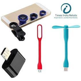 4 IN 1 COMBO :USB LED Light + USB FAN + Mobile Camera Lens + OTG (Micro USB to USB) Adapter  (Assorted Color)