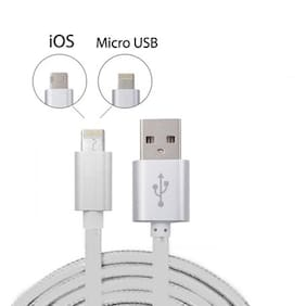 Reversible 2 In 1 USB Cable 1.2MT for iPhone & Android Micro USB SUPPORT FAST CHARGING/DATA TRANSFER CABLE (ASSORTED COLOUR)