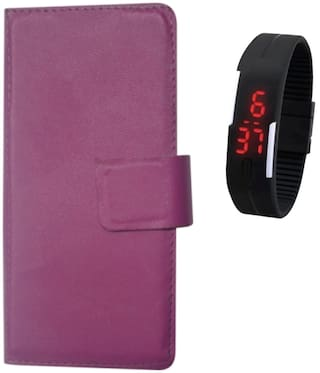 99Shoppy Leather Touch Feel Flip Cover for Beyond 10 or D 10 or D - Purple  Textured Design with Digital Watch Combo