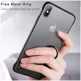 A rtistque Frameless case for Apple iPhone X Slim Translucent Matte Texture Design Hard PC Back Cover Shock Bumper Corners with Free Metal Ring - Black