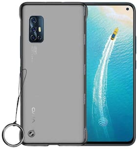 A rtistque Frameless case for Vivo V17 Slim Translucent Matte Texture Design Hard PC Back Cover Shock Bumper Corners with Free Metal Ring - Black