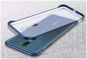 A rtistque Frameless case for Oppo F11 Slim Translucent Matte Texture Design Hard PC Back Cover Shock Bumper Corners with Free Metal Ring - Blue