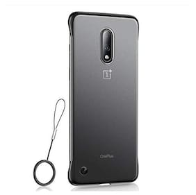 A rtistque Frameless case for OnePlus 7 Pro Slim Translucent Matte Texture Design Hard PC Back Cover Shock Bumper Corners with Free Metal Ring - Black