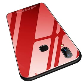 A rtistque Luxurious Shockproof TPU Bumper Back Glass Case Cover withToughened Glass For Vivo V9 -Red