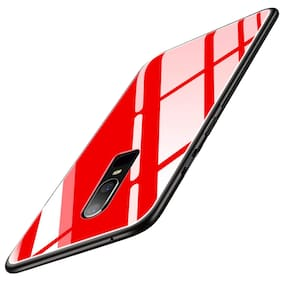 A rtistque Luxurious Shockproof TPU Bumper Back Glass Case Cover withToughened Glass For One Plus 6T - Red