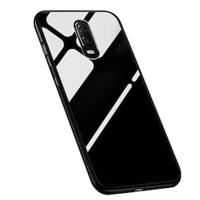 A rtistque Luxurious Shockproof TPU Bumper Back Glass Case Cover withToughened Glass For One Plus 6T -Black