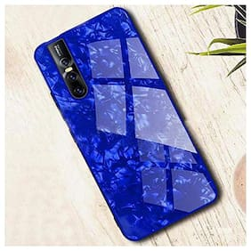 A rtistque Luxurious Marble Pattern Bling Shell Back Glass Case Cover with Soft TPU Bumper and Hybrid Technology for Vivo V15 Pro - Blue