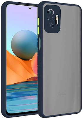 Accesories Legacy Translucent Hybrid Back Case Cover for Redmi Note 10 Pro Max/Redmi Note 10 Pro | Smoked Matte Back | 360 Degree Protection | Protective Hard Case (Blue Bumper)