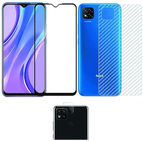 Accesories Legacy [3 in 1] for POCO C3 Edge to Edge Tempered Glass with Clear Transparent Fiber Back Skin Rear Screen Guard with Camera Lens Protector Tempered Glass