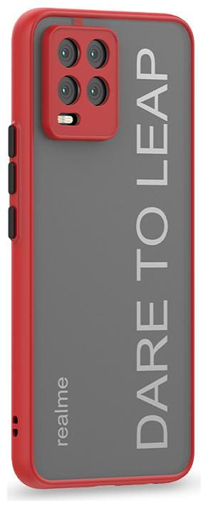 Accesories Legacy Translucent Hybrid Back Case Cover For Realme 8 Pro 4G,Realme 8 4G| Smoked Matte Back | 360 Degree Protection | Protective Hard Case (Red Bumper)