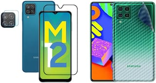 Accesories Legacy [Combo Of 3] for Samsung Galaxy M12,Samsung M12 Edge to Edge Tempered Glass with Clear Transparent Fiber Back Skin Rear Screen Guard with Camera Lens Protector Tempered Glass