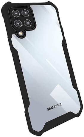 Accesories Legacy Back Cover Case for Samsung Galaxy F62,Samsung F62 (Shockproof | Crystal Clear | Hybrid TPU & PC | Transparent Back | Black Bumper)