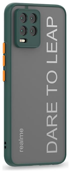 Accesories Legacy Translucent Hybrid Back Case Cover For Realme 8,Realme 8 Pro  Smoked Matte Back   360 Degree Protection   Protective Hard Case (Green Bumper)