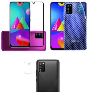 Accesories Legacy [Combo Of 3] for Samsung Galaxy M02S Edge to Edge Tempered Glass with Clear Transparent Fiber Back Skin Rear Screen Guard with Camera Lens Protector Tempered Glass