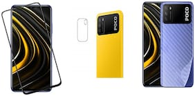 Accesories Legacy [3 in 1] for POCO M3 Edge to Edge Tempered Glass with Clear Transparent Fiber Back Skin Rear Screen Guard with Camera Lens Protector Tempered Glass