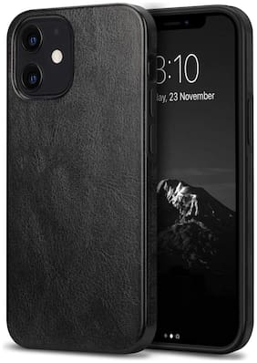 Apple iPhone 12 Faux Leather Back Cover By Accessories Kart ( Black )