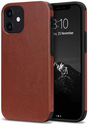 Apple iPhone 12 Mini Faux Leather Back Cover By Accessories Kart ( Brown )