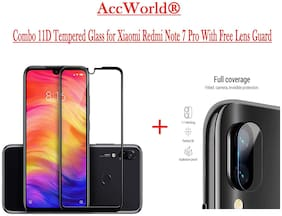 ACCWORLD  COMBO Redmi Note 7 PRO Edge to Edge Curved Full Glue Tempered Glass With Free Camera Lens Fiber Screen Protector for NOTE 7 PRO