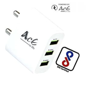 AcE(2.1AMP+1AMP) 3USB Ultra fast Charging with 2 USB SLOTS & 2.4Amp Output_ACE-2109(MICROMAX)(2.1AMP+1AMP) 3USB