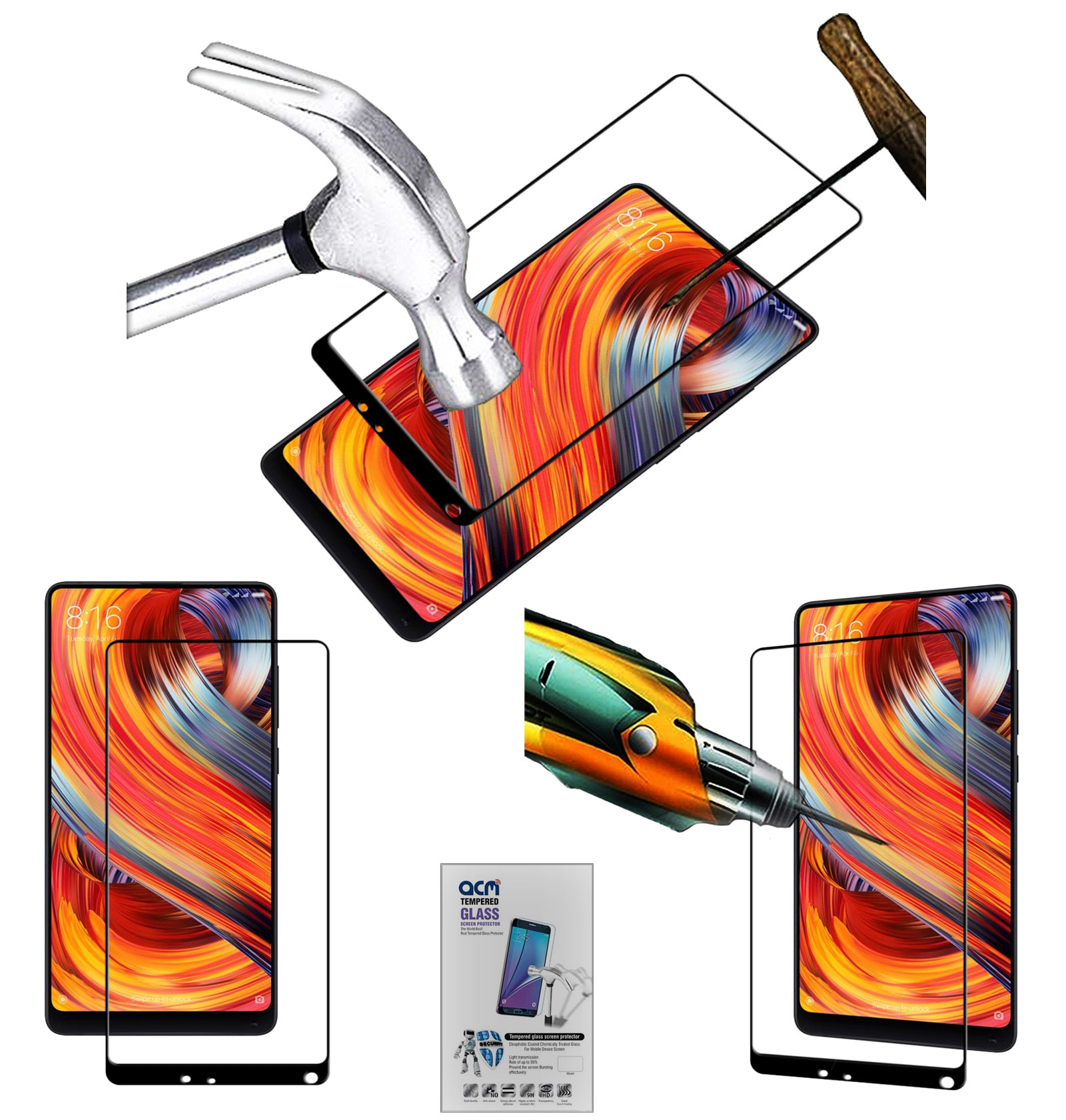 ACM Black Tempered Glass Screenguard for Xiaomi Mi Mix 2 Mobile Screenguard Screen Guard