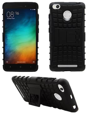 Acm Defender Armor Back Case for Xiaomi Redmi 3s Prime Mobile Hybrid Tpu+Pc Cover Stand Full Black