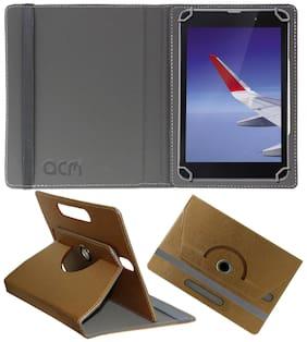 "Acm Designer Rotating Leather Flip Case for Iball Slide Wings 4gp 8"" Cover Stand Golden"