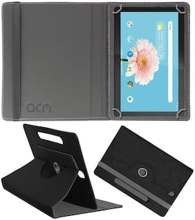 ACM Leather Flip Cover For Lenovo Tab M10 ( Black )