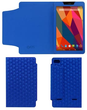 Acm Designer Tri-Fold Executive Case for Micromax Canvas Tab P681 Tablet Flip Cover Blue