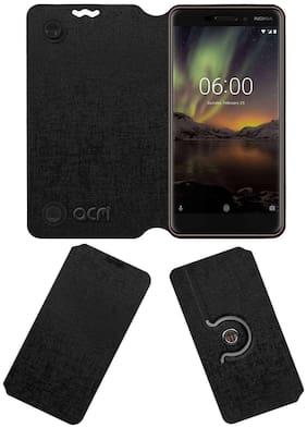 Acm Designer Rotating Flip Case for Nokia 6.1 Mobile Stand Cover Black