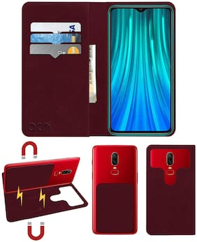 Acm Detachable Magnetic 2 in 1 Leather Flip Case / Back Cover for Mi Redmi Note 8 Pro Mobile Flap Wine Red