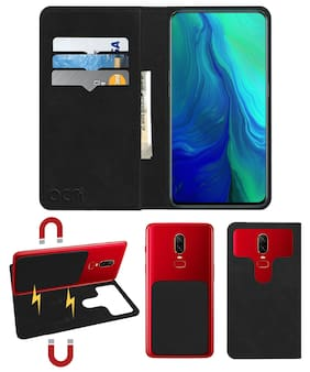 Acm Detachable Magnetic 2 in 1 Leather Flip Case / Back Cover for Oppo Reno 10x Zoom Edition Mobile Flap Royal Black