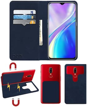 Acm Detachable Magnetic 2 in 1 Leather Flip Case / Back Cover for Realme Xt Mobile Flap Navy Blue