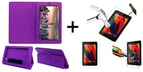 Acm Executive Case & Tempered Glass Combo for Micromax Canvas Tab P290 Flip Cover Screen Guard Purple