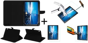 Acm Executive Case & Tempered Glass Combo for Lenovo Tab M10 X605l Flip Cover Screen Guard Black