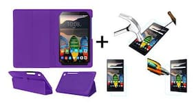 Acm Executive Case & Tempered Glass Combo for Lenovo Tab 3 730x Flip Flap Cover Screen Guard Purple