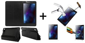 Acm Executive Case & Tempered Glass Combo for Lenovo Tab 2 A7-30 Flip Cover Screen Guard Black