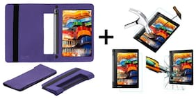 Acm Executive Case & Tempered Glass Combo for Lenovo Yoga Tab 3 8 Flip Cover Screen Guard Purple