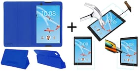 Acm Executive Case & Tempered Glass Combo for Lenovo Tab4 8 Flip Flap Cover Screen Guard Blue