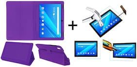 Acm Executive Case & Tempered Glass Combo for Lenovo Tab4 10 Plus Flip Flap Cover Screen Guard Purple