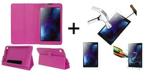 Acm Executive Case & Tempered Glass Combo for Lenovo Tab 2 A7-30 Flip Cover Screen Guard Pink