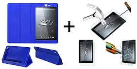Acm Executive Case & Tempered Glass Combo for Micromax Canvas Tab P666 Flip Cover Screen Guard Blue
