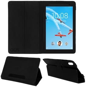 Acm Executive Leather Flip Flap Case for Lenovo Tab 4 8 Plus Tb-8704x Tablet Front & Back Cover Black