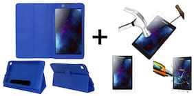 Acm Executive Case & Tempered Glass Combo for Lenovo Tab 2 A7-30 Flip Cover Screen Guard Blue