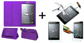 Acm Executive Case & Tempered Glass Combo for Micromax Canvas Tab P690 Flip Cover Screen Guard Purple