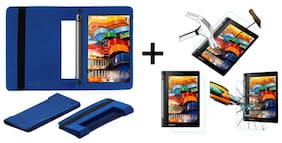 Acm Executive Case & Tempered Glass Combo for Lenovo Yoga Tab 3 8 Flip Cover Screen Guard Blue