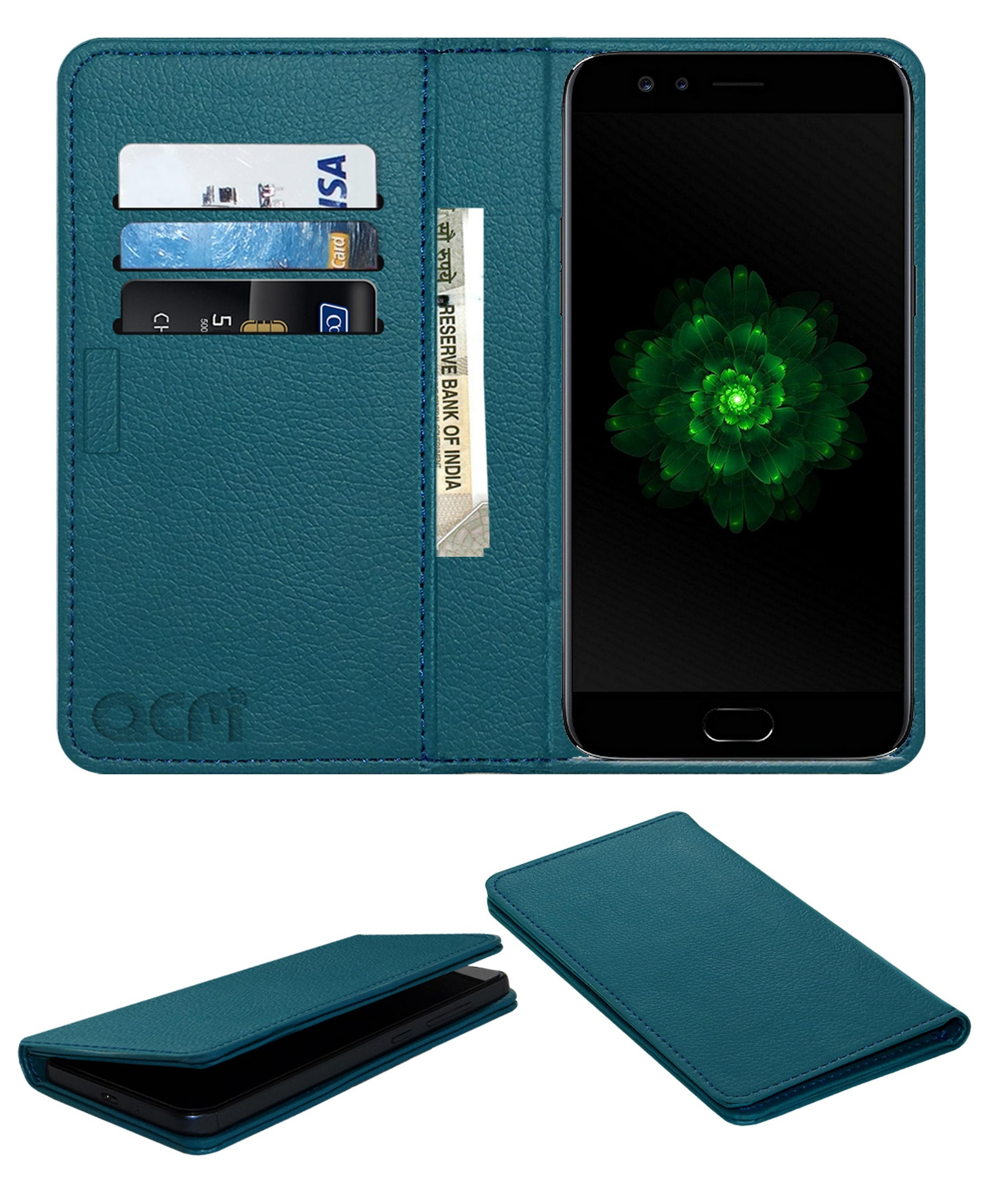 ACM Faux Leather Flip Cover For OPPO F3   Turquoise   by Accessories Masters