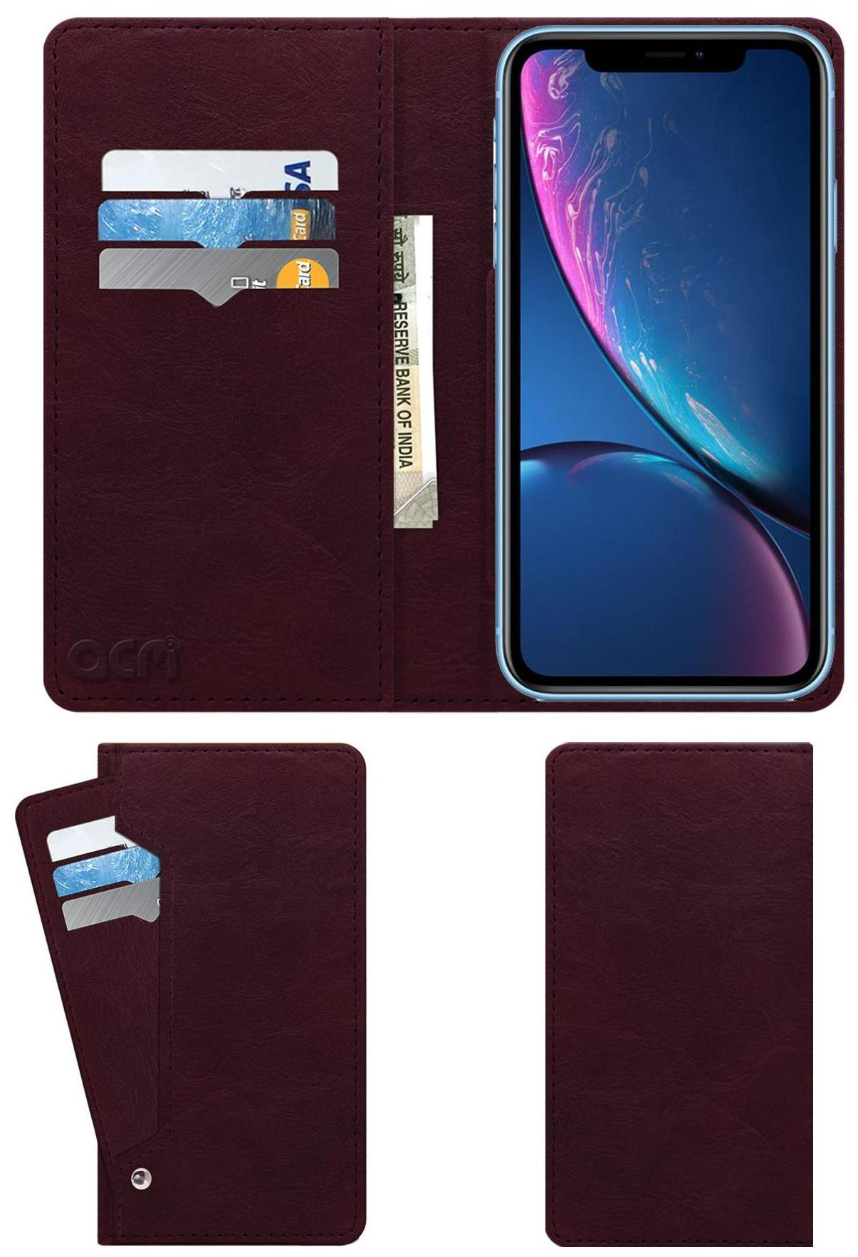 ACM Flip Cover forApple Iphone Xr  Maroon  by Accessories Masters